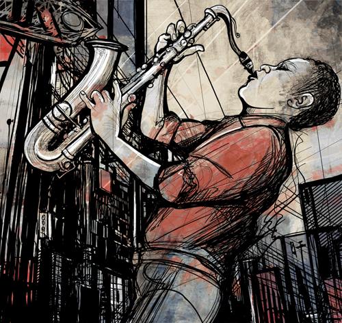 Car Mural Wallpaper Graffiti Music Backgrounds Vector Set 08 Free Download