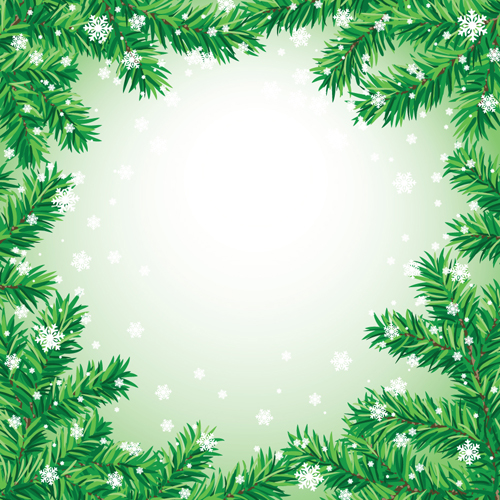 Set of christmas needles frames vector material 05 \u2013 Over millions