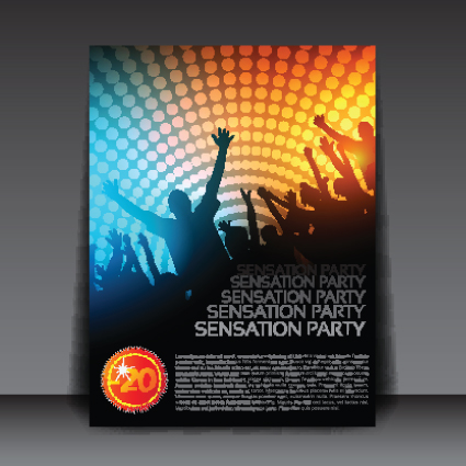 commonly Party Flyer cover template vector 01 free download - party brochure template
