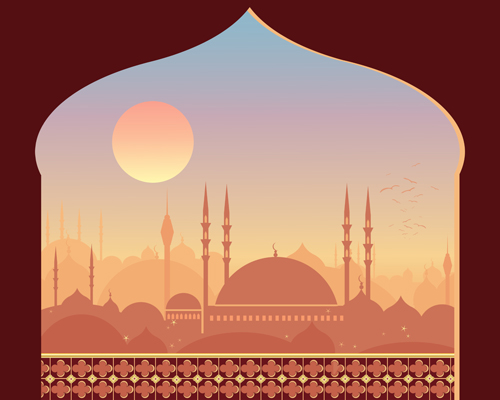 3d Emoticons Wallpapers Mosque Night Backgrounds Vector 05 Free Download