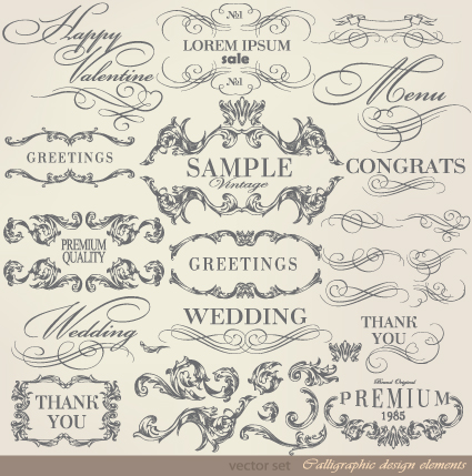 Retro calligraphy design elements vector graphic 02 \u2013 Over millions