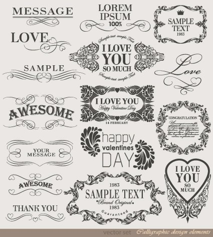 Retro Calligraphy design elements vector graphic 03 free download - calligraphy designs templates