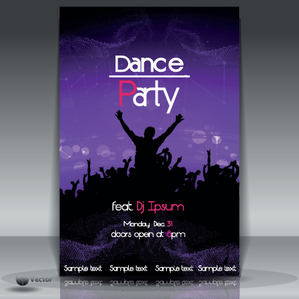 Dance party Flyer cover template vector 05 free download - party brochure template