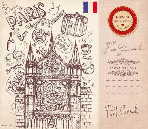 Emoticons Cute Wallpaper Vector Vintage Paris Style Post Card 02 Vector Card Free