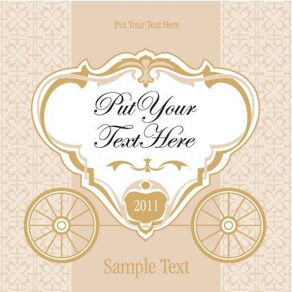 Wedding invitation with Carriage design vector 02 free download
