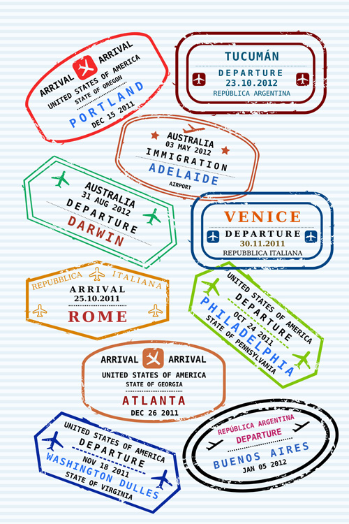 The New School Rome Calendar Home Rome City School District Vector Passport Stamps Design Set 01 Vector Label Free