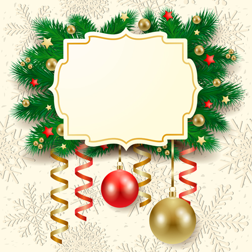 Cute Christmas cards with frame vector set 03 free download
