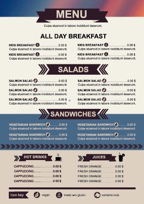 Restaurant menu price List template vector 04 free download - price list template