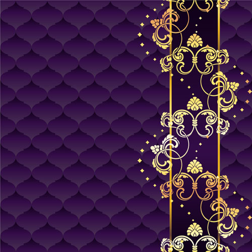 Golden floral with purple textures background vector free download