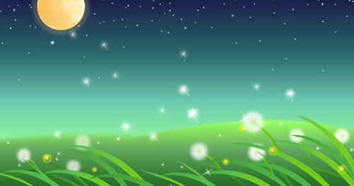 3d Fire Name Wallpaper Moon And Dandelions Beautiful Landscapes Vector Vector