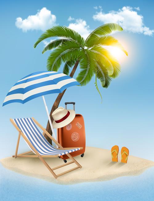 Summer beach vacation background art vector 01 free download