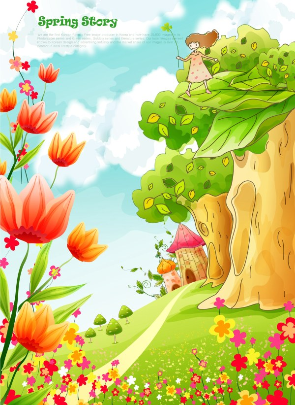 Beautiful cartoon spring scenery vector graphics 05 free download