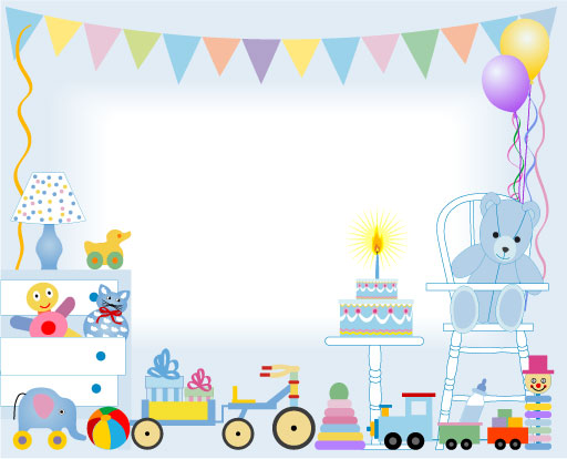 Birthday cake and toys baby card vector - Vector Birthday, Vector - birthday cake card template