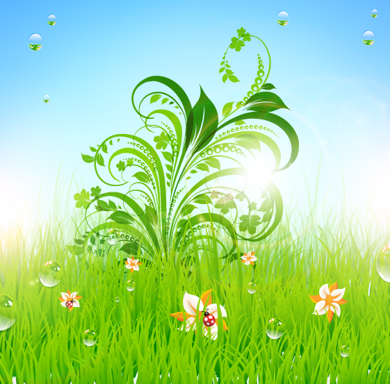 Cute Cartoon Flower Wallpaper Grass Floral And Natural Vector Free Download