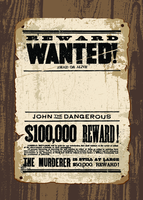 Vintage style wanted vector templates material 01 free download - free wanted poster template download
