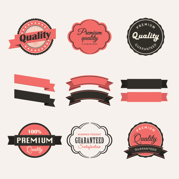 Blank ribbon with retro labels vector material free download