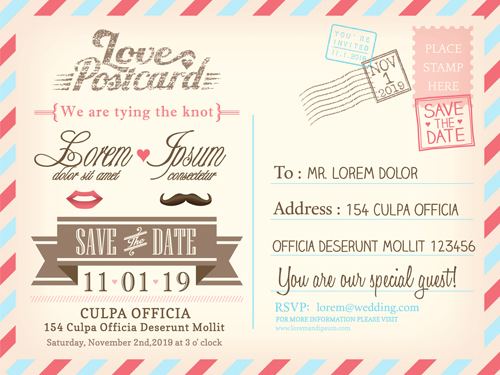 Wedding invitations postcard design graphic vector 03 free download