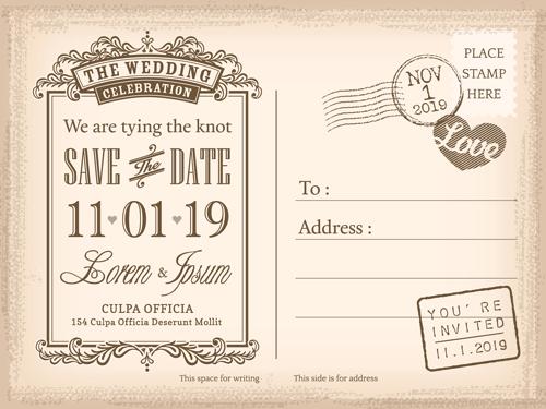 Wedding invitations postcard design graphic vector 04 free download
