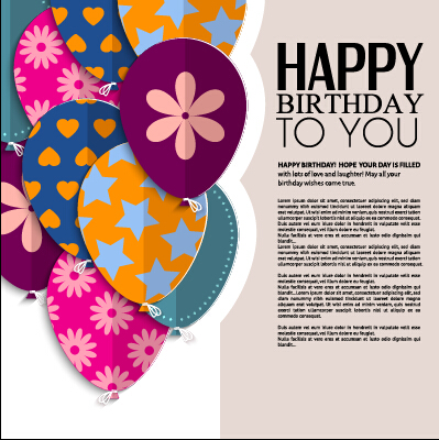 Template birthday greeting card vector material 03 free download - template for a birthday card