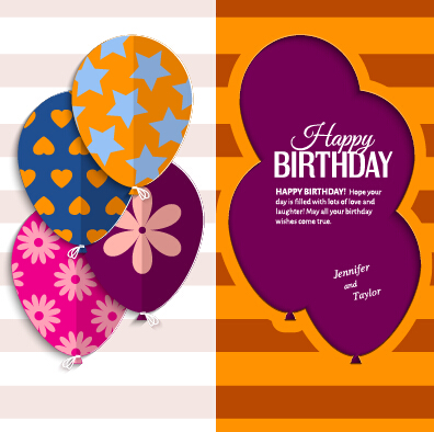 Template birthday greeting card vector material 05 free download