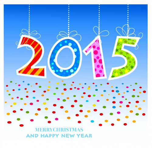 Cute colored 2015 background design vector free download