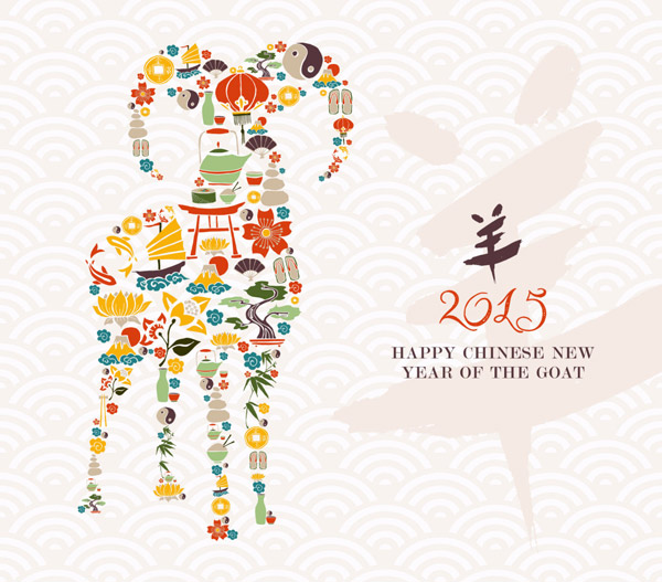 Chinese new year elements and goat background vector free download