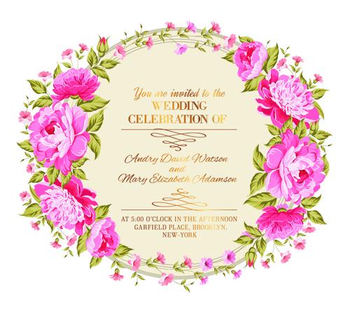 Pink flower frame wedding invitation cards 02 free download