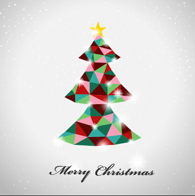 Triangle colored christmas tree vector background free download