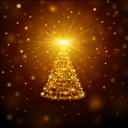 Golden light christmas tree background vector material free download