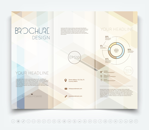 Bright brochure folding cover design vector 01 free download
