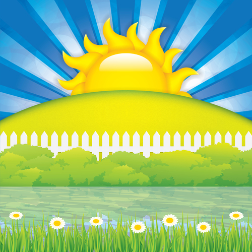 Cartoon spring background bright vector 05 free download