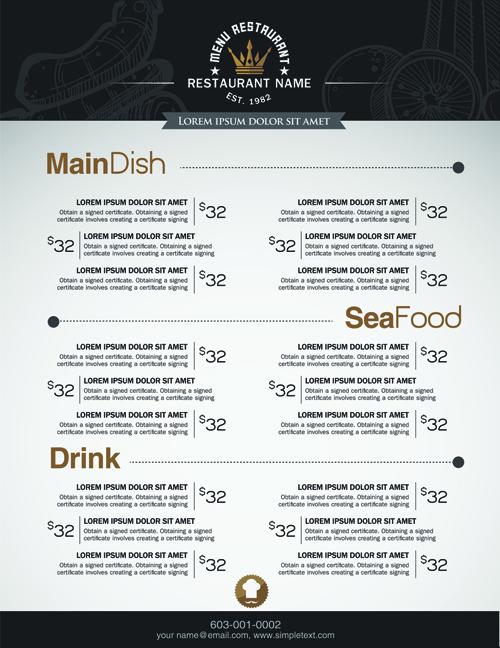 Restaurant menu price list creative vector 03 free download - menu list sample