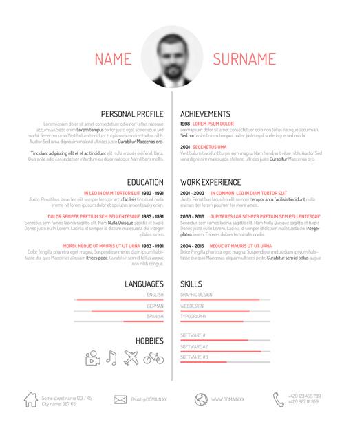 Creative resume template design vectors 01 free download