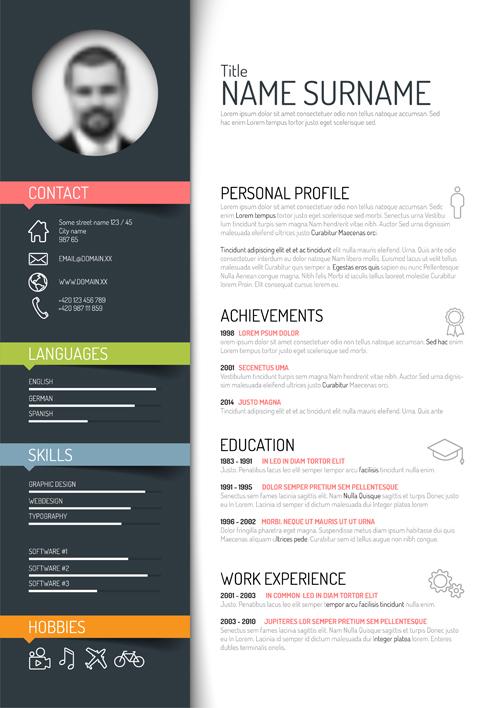 Creative resume template design vectors 02 free download