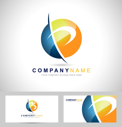 Original design logos with business cards vector 09 free download