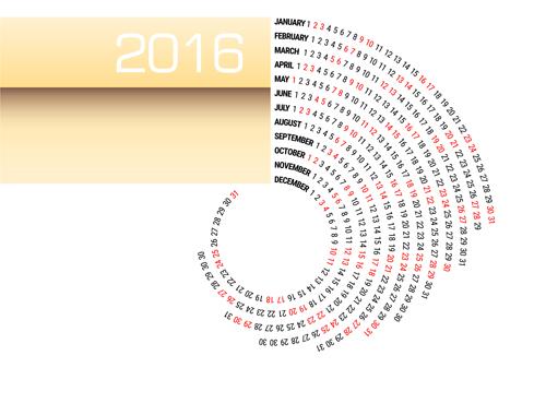 Circular Calendar 2016 abstract vector free download - circular calendar