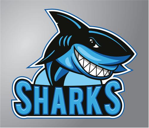 Funny sharks logo design vector free download