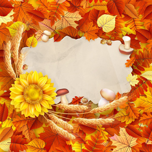 Fall Leaves Wallpaper Powerpoint Background Autumn Leaves With Wheat And Mushrooms Frame Background