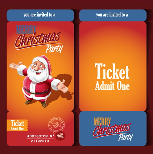 Christmas party ticket retro vector free download - party ticket template free