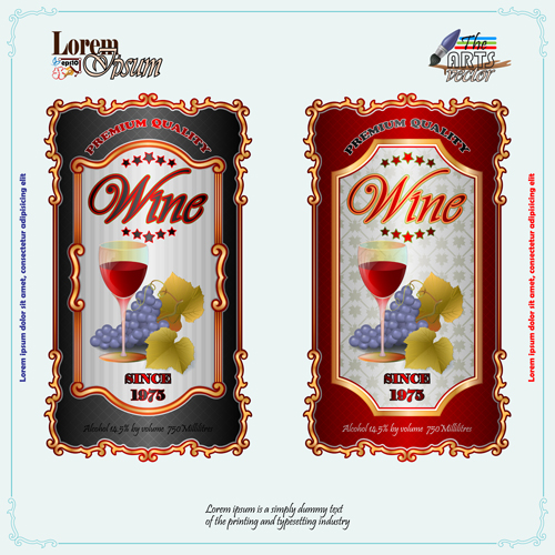 Exquisite wine labels template vector design 03 free download