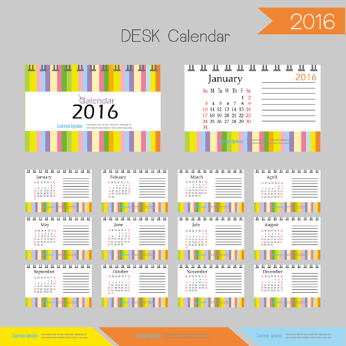 2016 desk calendar template vectors set 14 free download