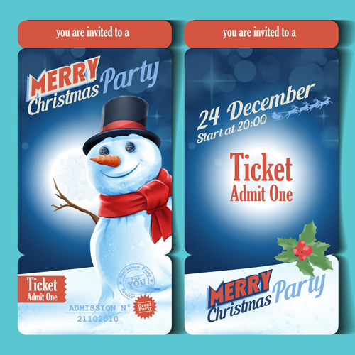Merry christmas party ticket template vector free download - party ticket template free