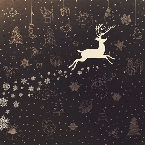 Cute Animal Iphone Wallpaper Vintage Christmas Background With Deer Vector Free Download