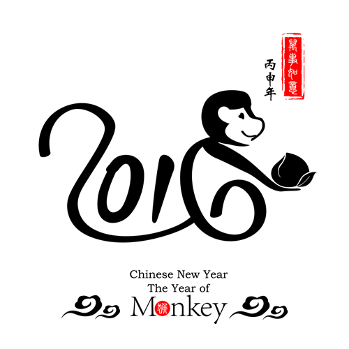 Chinese 2016 new year with monkey year creative vector 03