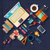 Flat Office Tools vector - Vector Web design free download