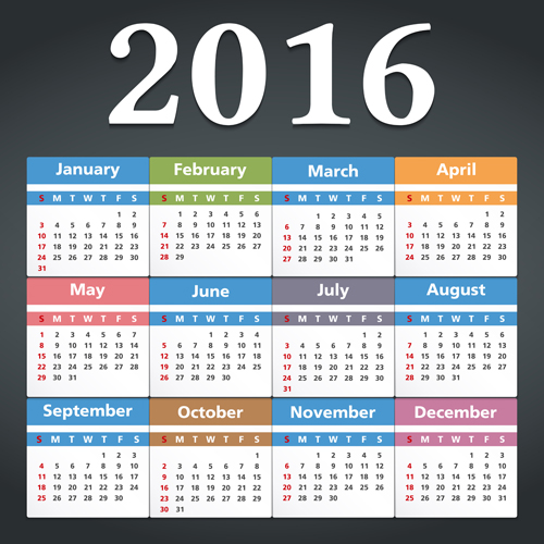 Simple 2016 calendars colored vector 01 free download