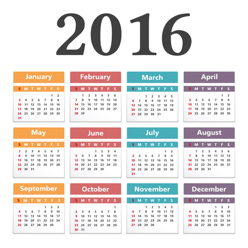 Simple 2016 calendars colored vector 02 free download