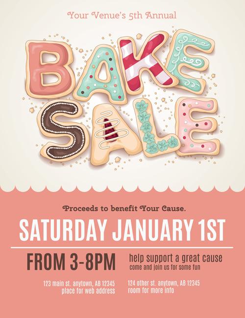 Vector bake sale poster design 01 free download