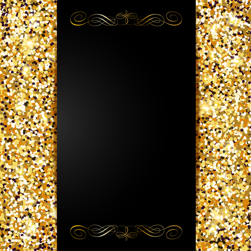 Golden with black VIP invitation card background vector 02 free download