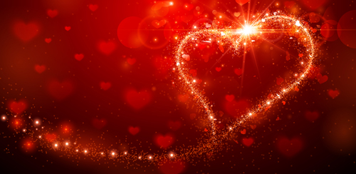 3d Emoticons Wallpapers Shining Red With Valentines Day Background Vector Free